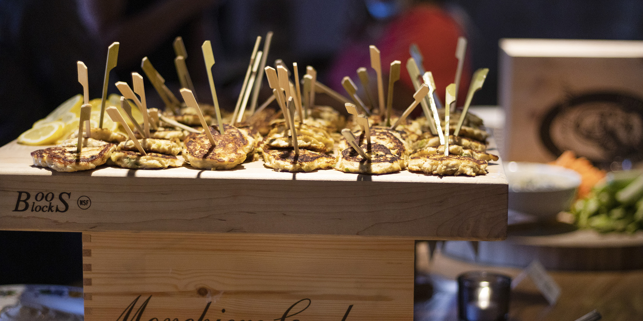 Crab Cakes on wooden tray